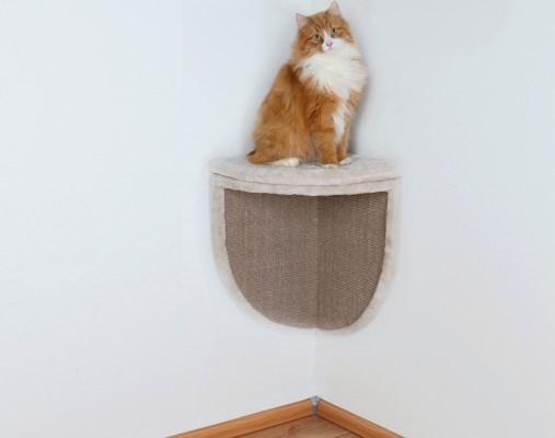Настенная когтеточка с подставкой для кота